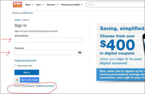 Screenshot Of King Soopers Site How To Create Account