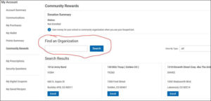 Screenshot of King Soopers Community Rewards Search Page